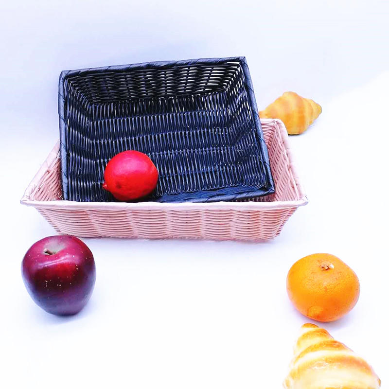 Classical washable hollow pp wicker basket for fruit and vegetables