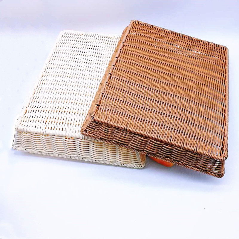 plastic rattan bread basket tray with high quality for supermarket-1