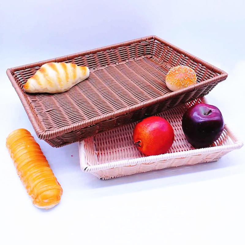 Traditional handicraft pp basket with PC cover bread and sushi tray