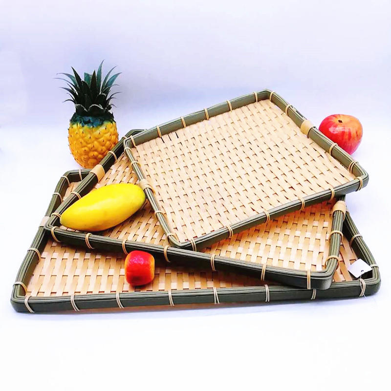 Top-level rectangle weave plastic storage PP bamboo baskets