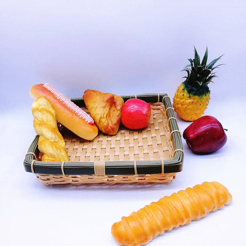 Eco-friendly square handicraft poly bamboo basket