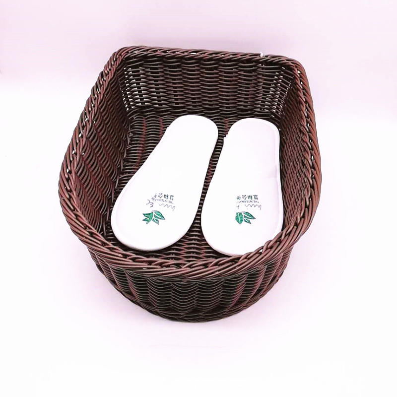 Cutely hand weaving washable PP rattan hotel shoe basket without handle