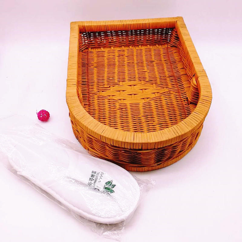Beautiful hand weaving  durable nature rattan hotel shoe basket