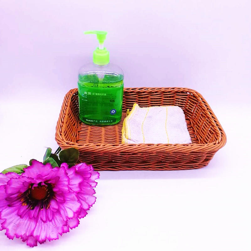 Bathroom washable and durable pp wicker cleaning basket multifunction rattan tray