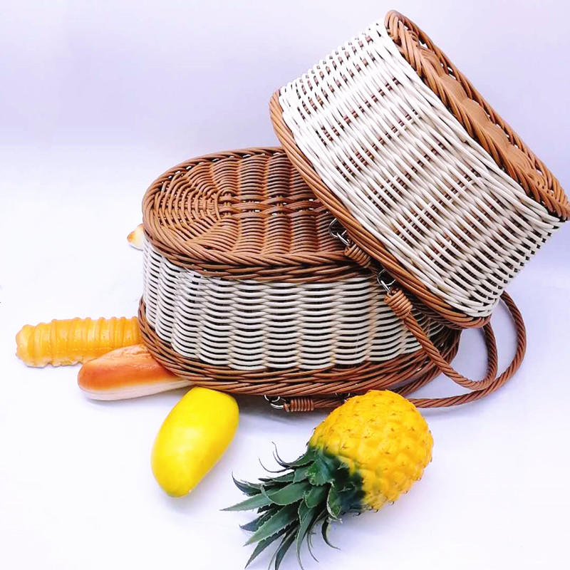 Oval Rattan basket Outdoor Wicker Picnic Basket With Handles For Fruit And Vegetables