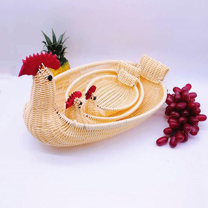 Newest animal shape basket , chicken shape plastic rattan egg basket ,wicker chock basket