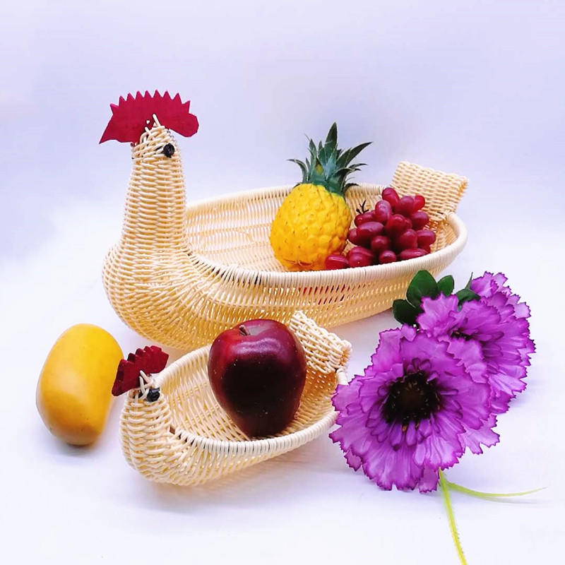 Newest animal shape basket , chicken shape plastic rattan egg basket ,wicker chock basket