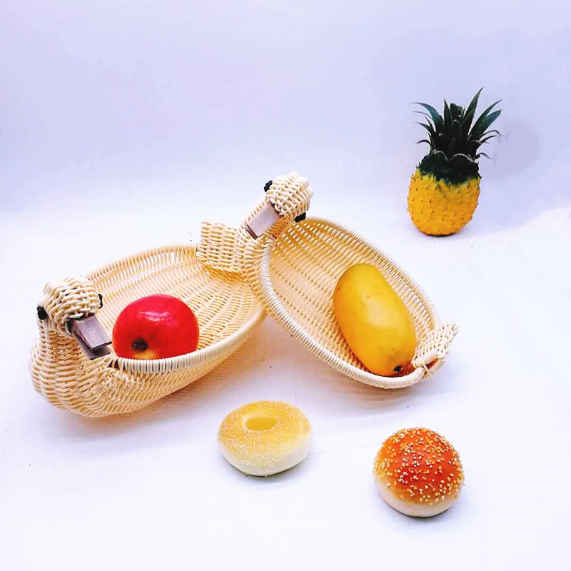 Animal duck shape pp plastic rattan wicker storage bathroom baskets fruit basket
