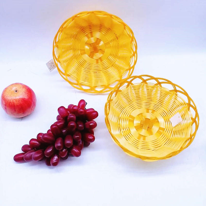 Wholesale Handcraft Round Shape PP Weaving Fruit Flower Bread Wicker Basket