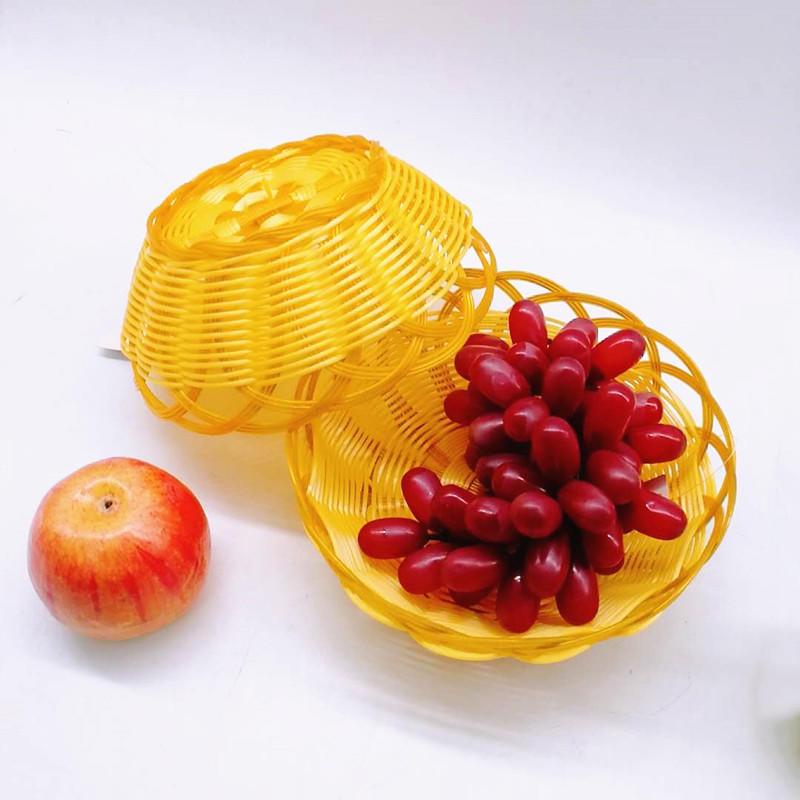 Wholesale Handcraft Round Shape PP Weaving Fruit Flower Bread Wicker Basket