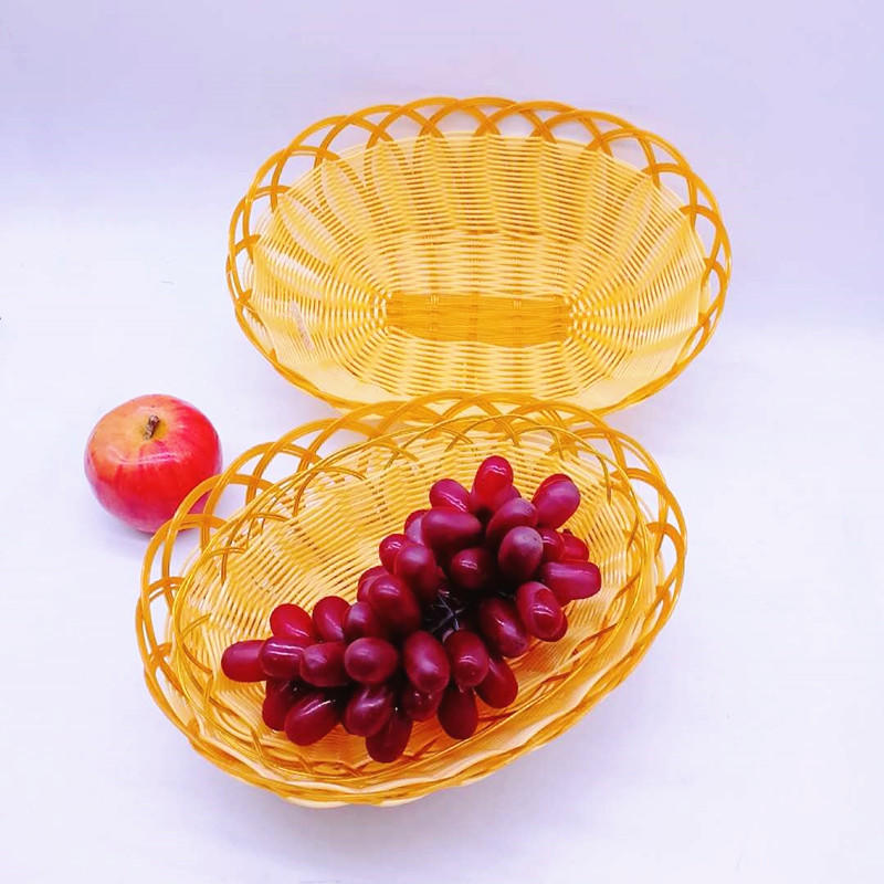 Wholesale Flower Shape Plastic PP Rattan Woven Fruit basket