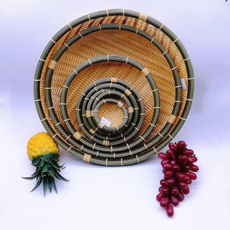 Deep round pp bamboo basket hand weaving bamboo bowl for food storage