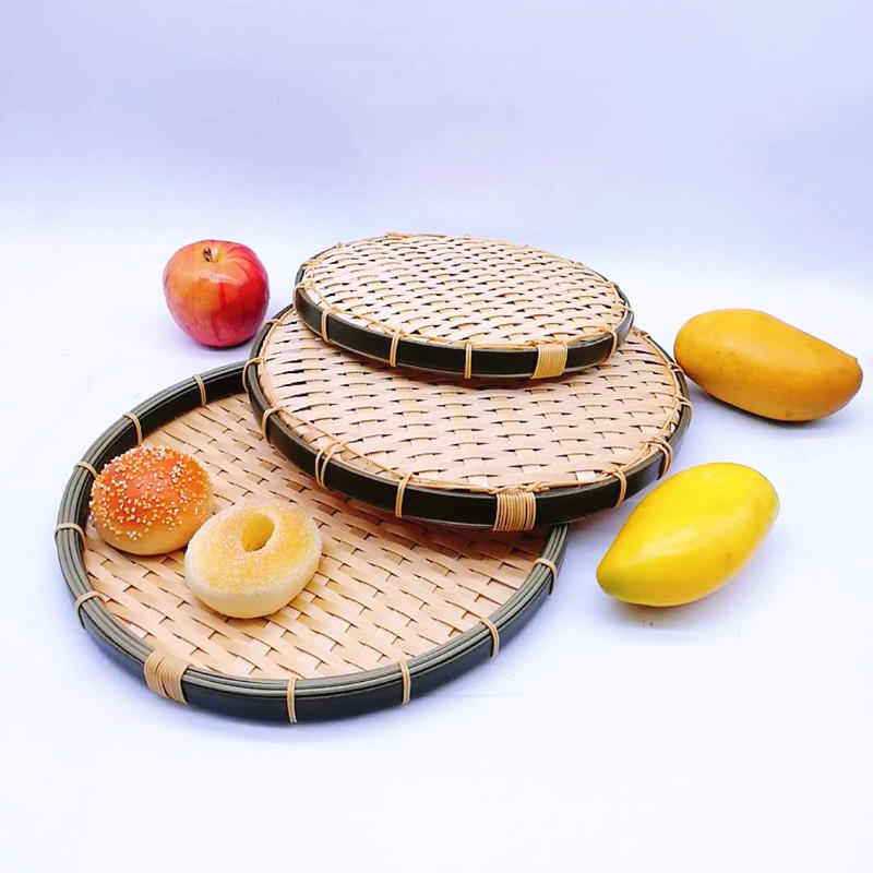 Multi-sizes round hand weaving bamboo storage baskets