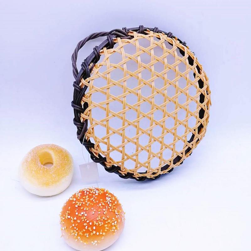 NewFida Eco-friendly Hand Woven Round Bamboo Basket