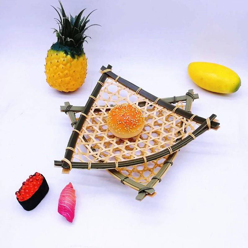 PP Bamboo Bread Basket Storage Display Trays Triangle Fruit Basket