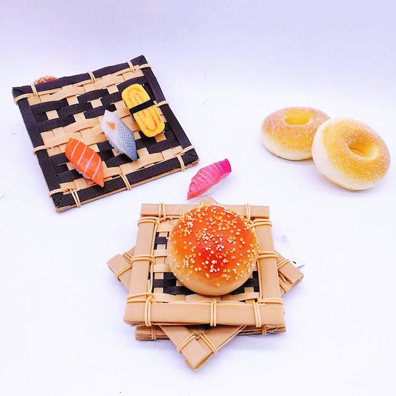 Healthy And Food Grade PP Bamboo Coasters Imitation Bamboo Mat Sushi Wicker Tray