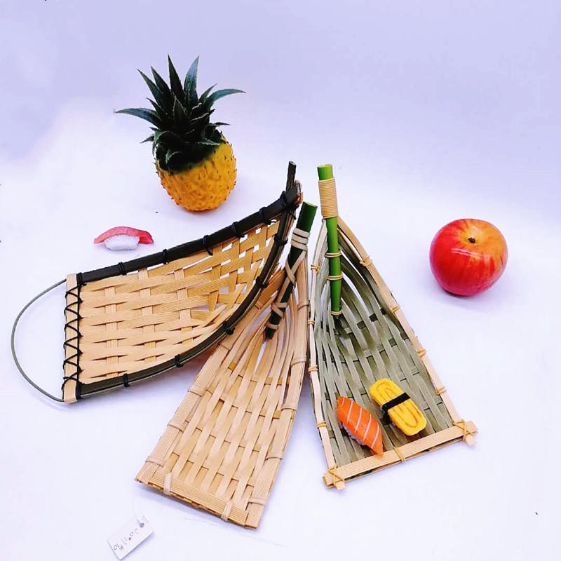 Vintage Wholesale Handmade Woven PP Bamboo Boat Basket Tray For Food Storage