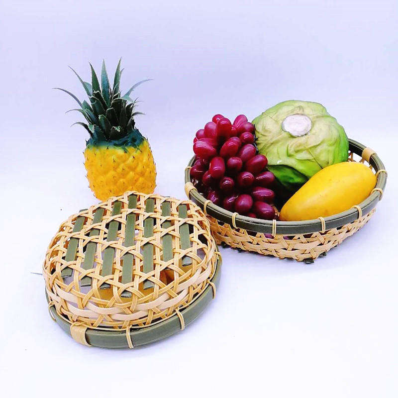 Custom Food Grade Eco-friendly Plastic Hollow Bamboo Fruit Bowl