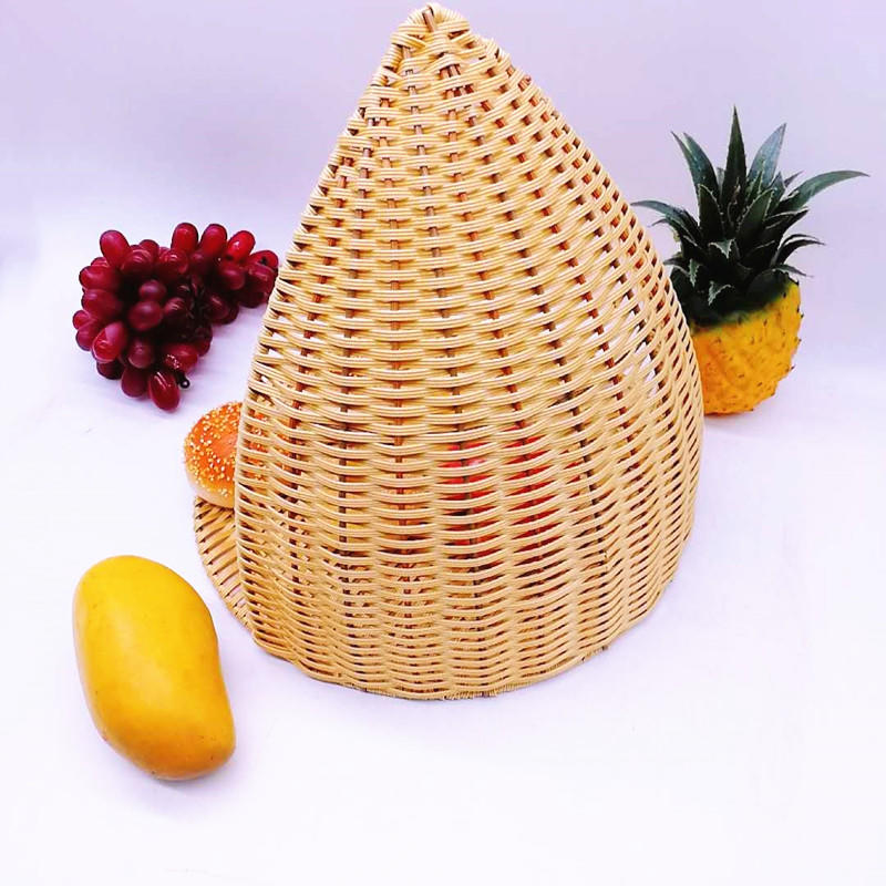 Washable boat shaped large pp wicker willow basket bakery tray for food storage