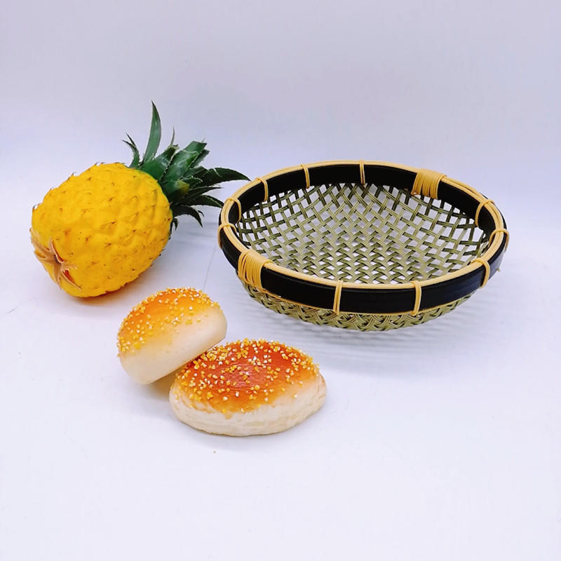 Round weaving bamboo bowl basket service pp bamboo tray