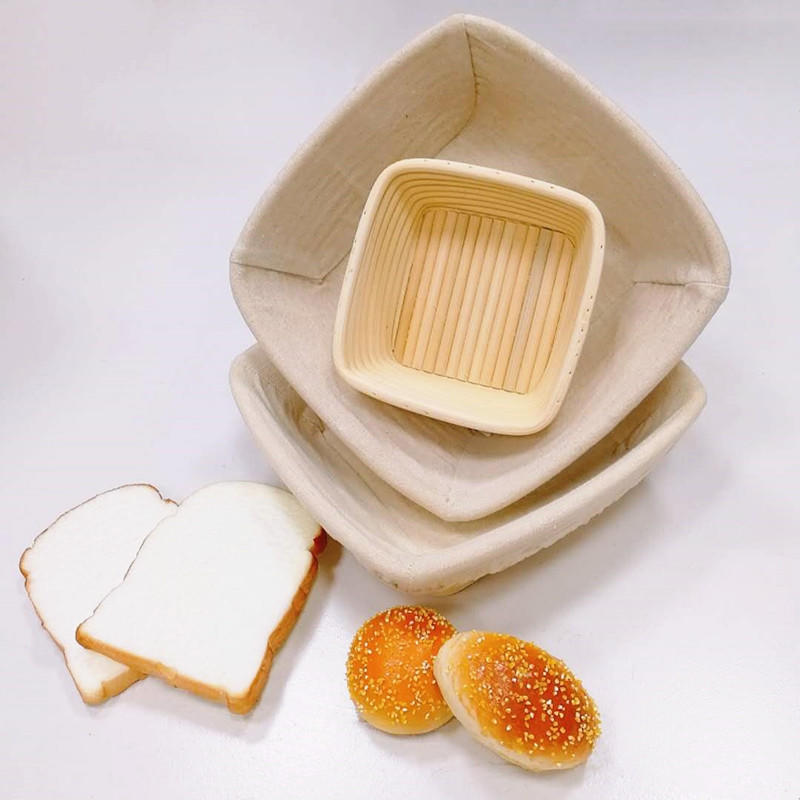 Square Shape Banneton Bread Dough Proofing Basket With Liner
