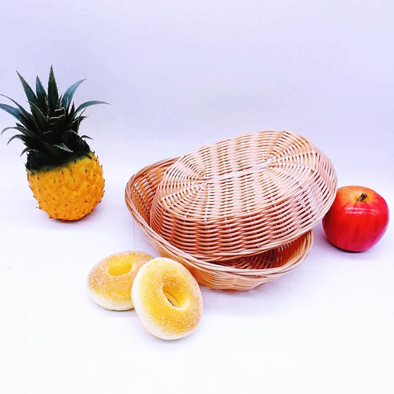 Washable poly rattan wicker plastic hollow rattan woven storage basket