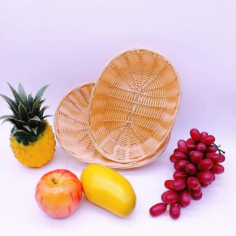 Washable poly rattan wicker plastic hollow rattan woven storage basket