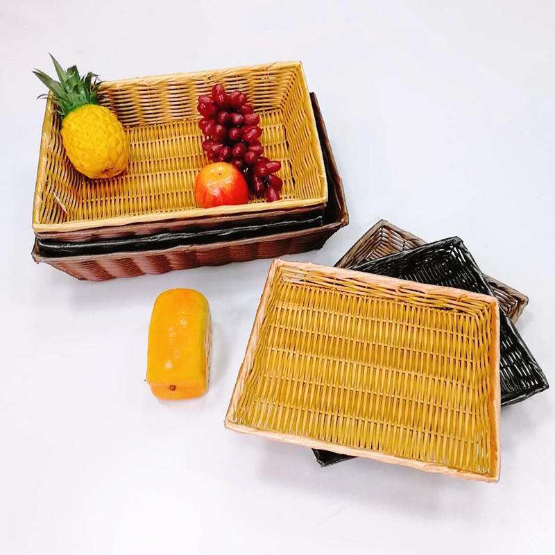 Multi-function hollow poly wicker basket service bakery tray