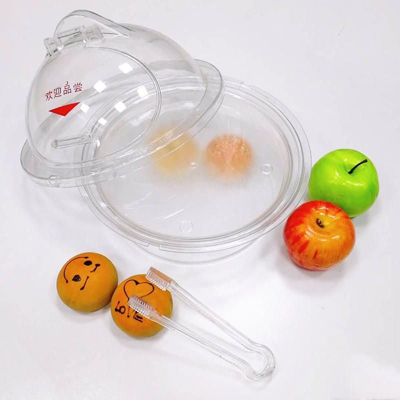 FDA acrylic food display basket foretaste plate with pc cover