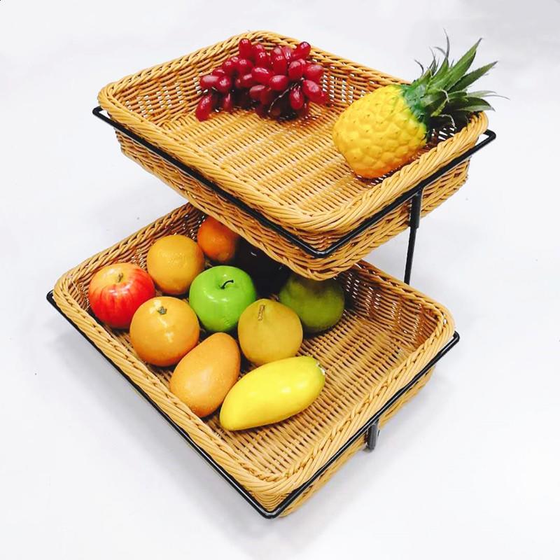 Guaranteed quality stand design 2-tier rattan bakery display racks