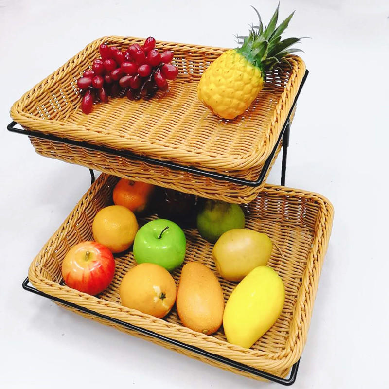 Guaranteed quality stand design 2-tier rattan bakery display racks