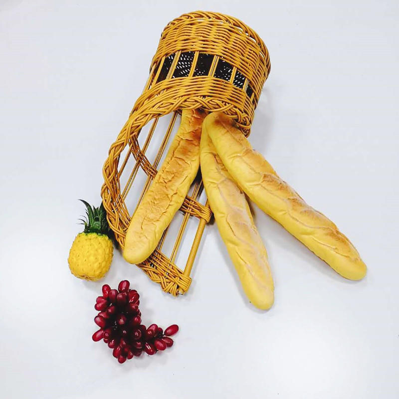 Hand weaving pp rattan bread basket with metal frame for Baguette