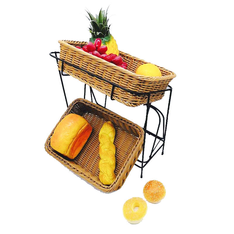 2-Tier buffets displaying shelf stand with poly wicker basket