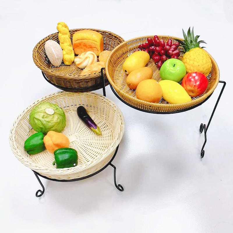 Hot sale supermarket vegetable and fruit display stand with 3 wicker baskets