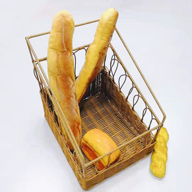 Wholesale high-capacity hand woven poly wicker baguette basket for french bread