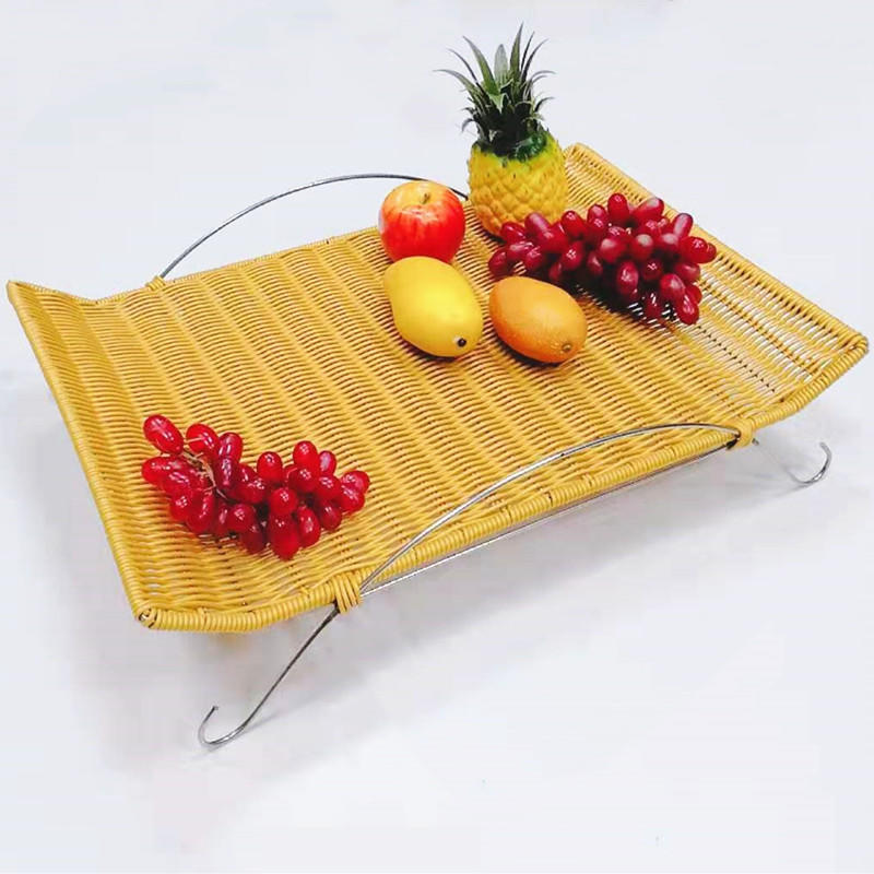 Tableware buffet serving set fruit display rattan bread basket with metal