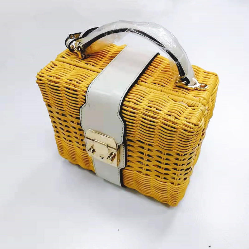 Lady Hand Weaving Small Square Nature Rattan Bag Single-Shoulder Cross body Bag
