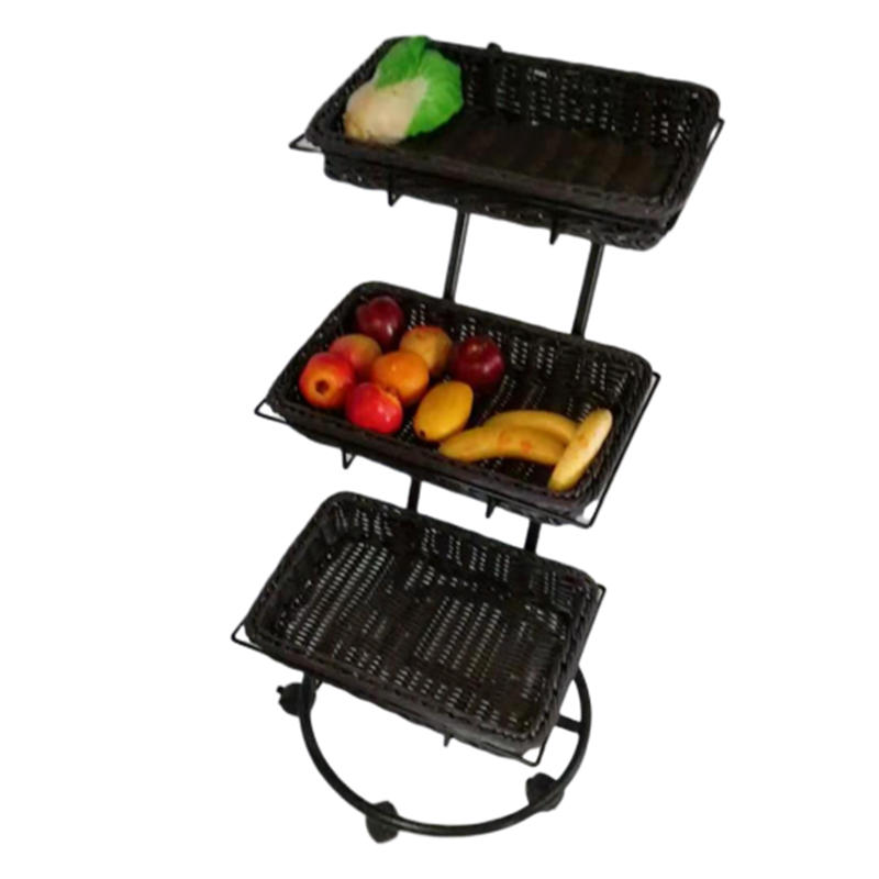 Retail shop supermarket metal fruit display rack, wicker basket fruit rack, 3 tier vegetable display stand