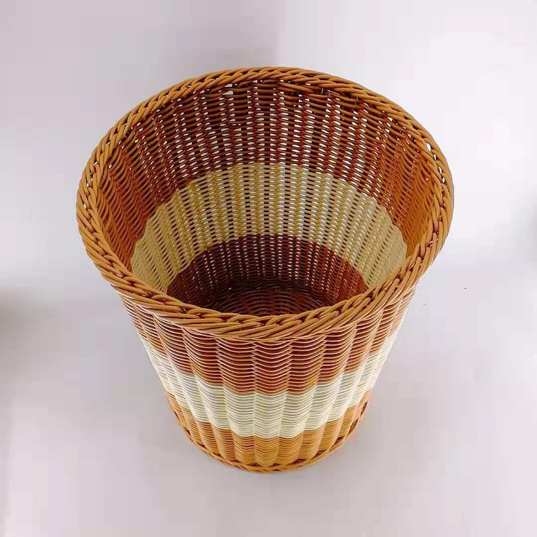 Mix Color Washable Hand Woven Wicker Rattan Laundry Basket