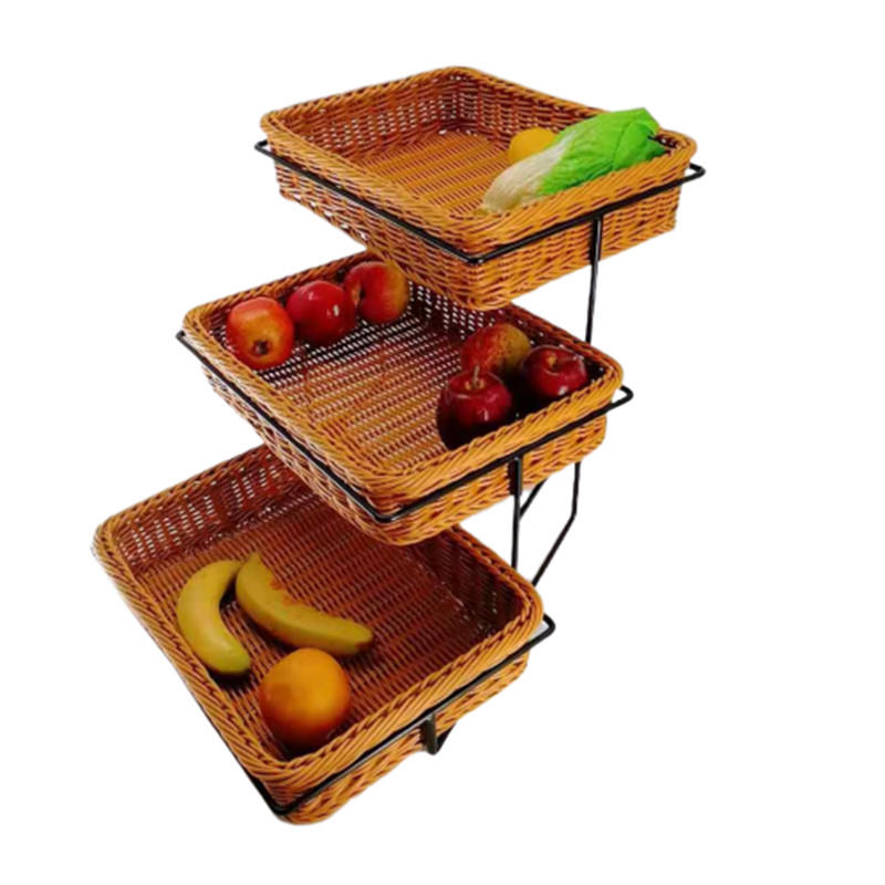 FDA test three tiers high quality poly rattan displaying stand with pp wicker basket