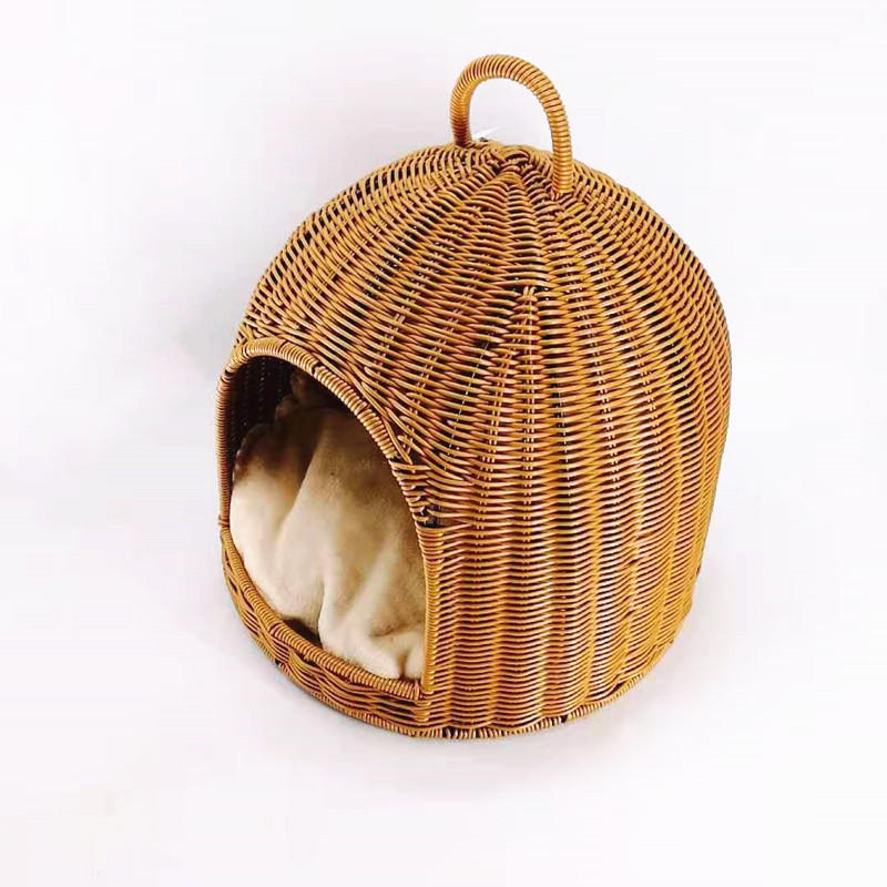Washable Rattan Pet Basket Bed With Cushion Poly Wicker Pet House For Small Dogs and Cats