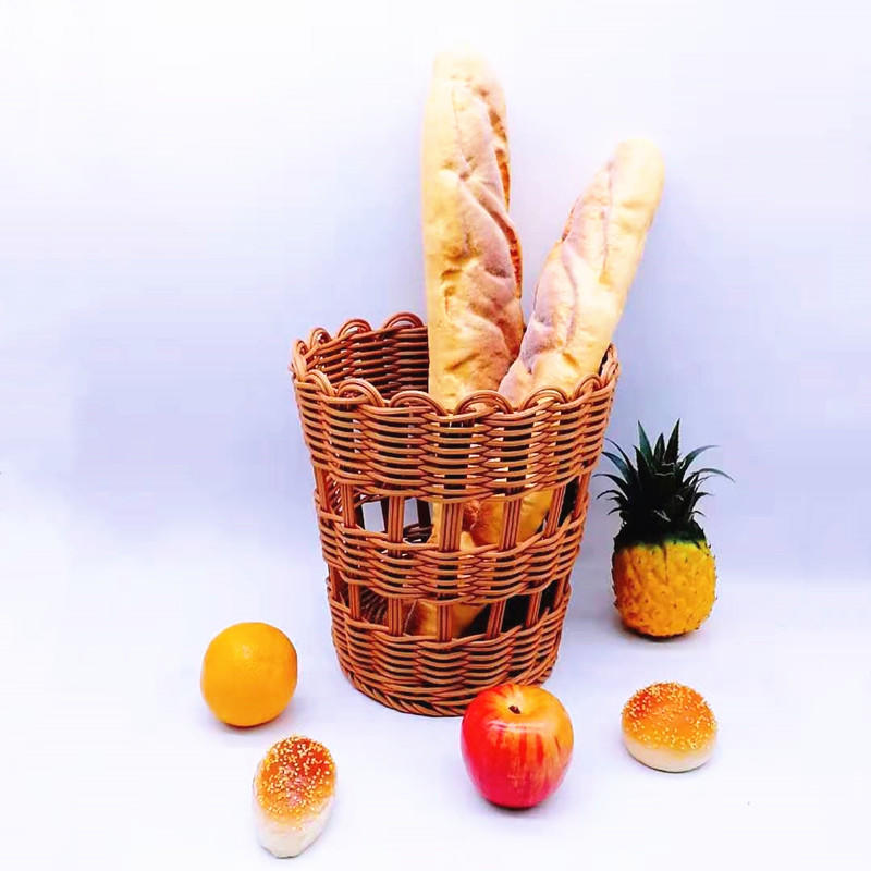 Handmade poly rattan wicker French bread basket for baguette