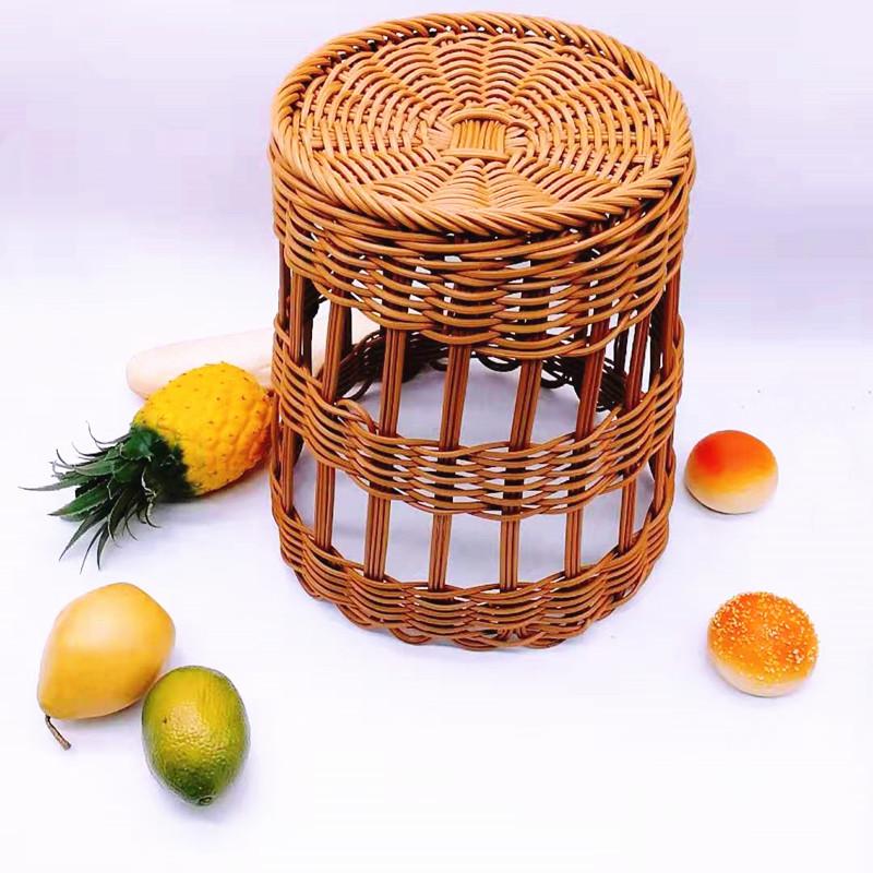 Round woven plastic rattan wicker french baguette bread fruit baskets-Wicker Basket, Rattan Basket,