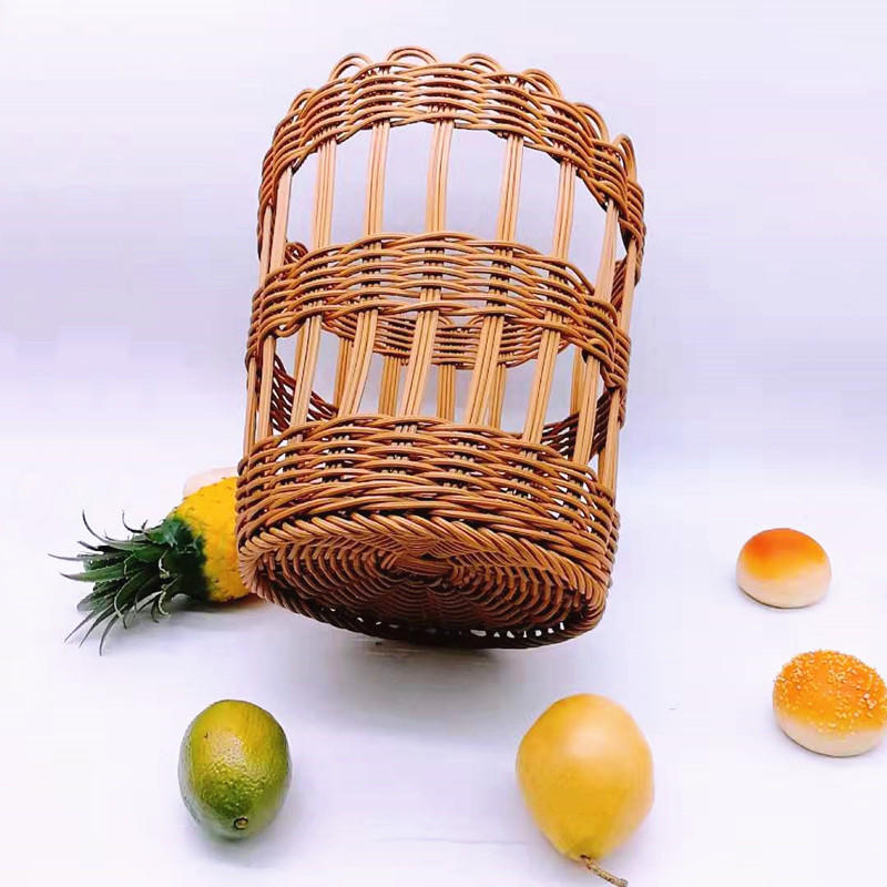 Round woven plastic rattan wicker french baguette bread fruit baskets