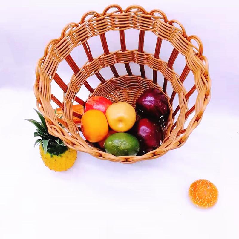 Round woven plastic rattan wicker french baguette bread fruit baskets-Wicker Basket- Rattan Basket-