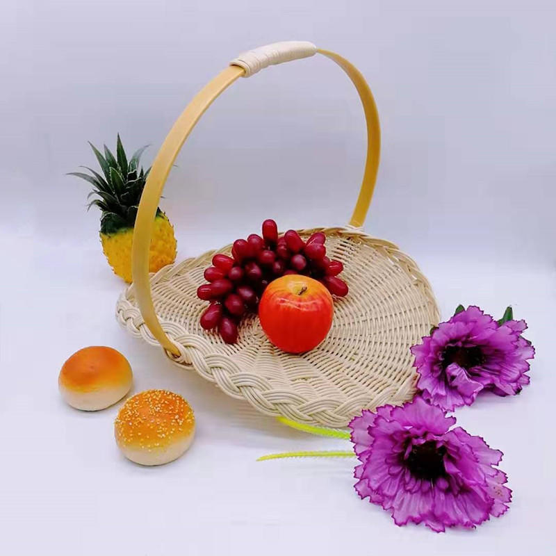 Decorative cheap poly wicker storage basket with handles