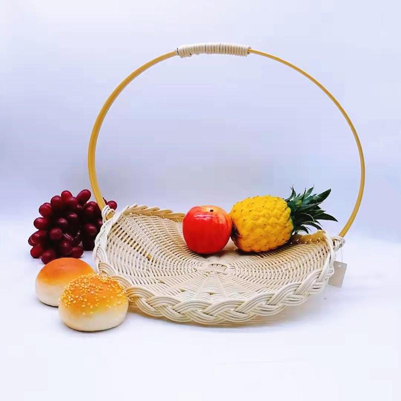 Decorative cheap poly wicker storage basket with handles
