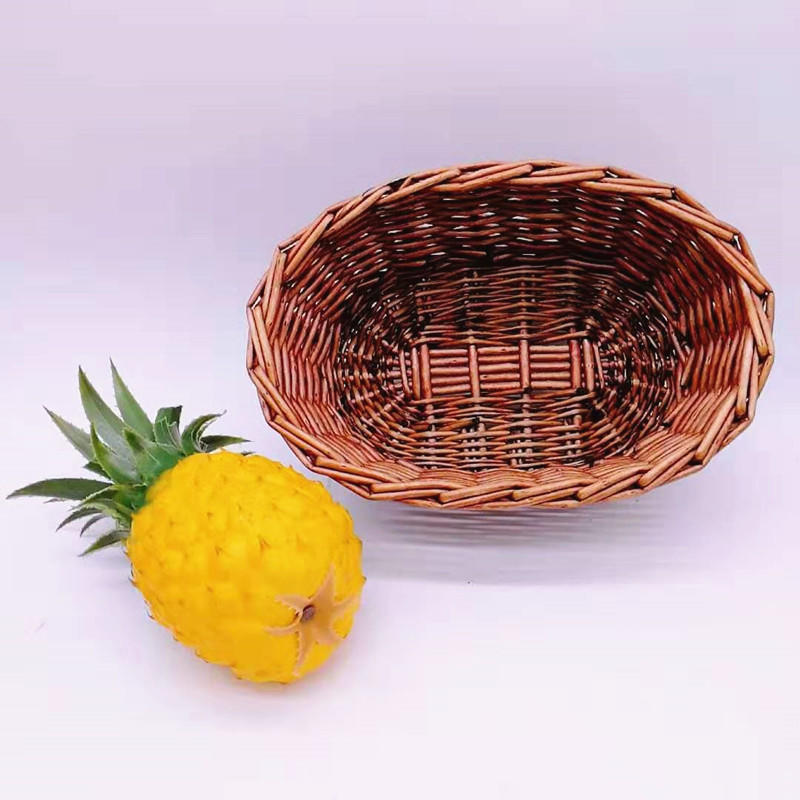 Natural wicker basket oval shape handicraft willow fruit bowl