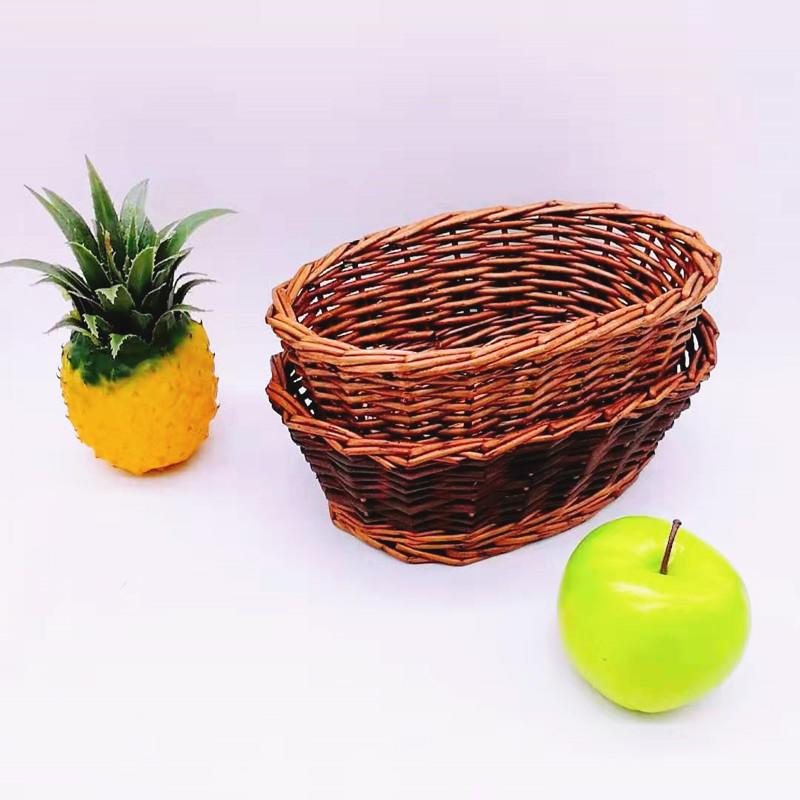 Natural wicker basket oval shape handicraft willow fruit bowl