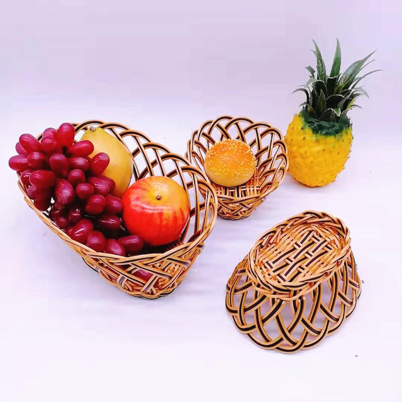 China pp basket supplier cheap hollow poly wicker basket with metal wire inside for food storage